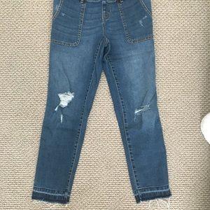 bc5f9418887 Motherhood Maternity Jeans - Side Panel Letdown Hem Maternity Overalls